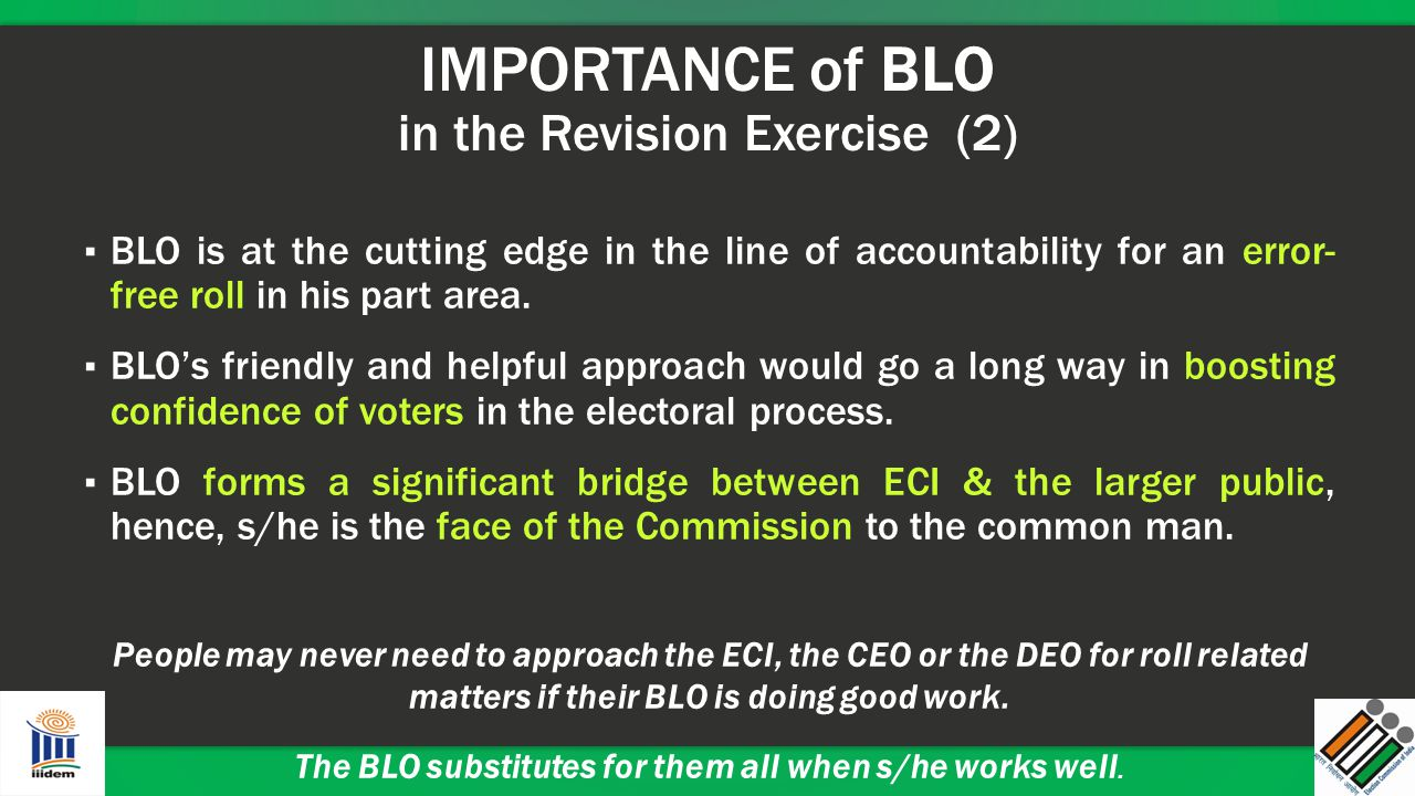IMPORTANCE of BLO in the Revision Exercise (2)