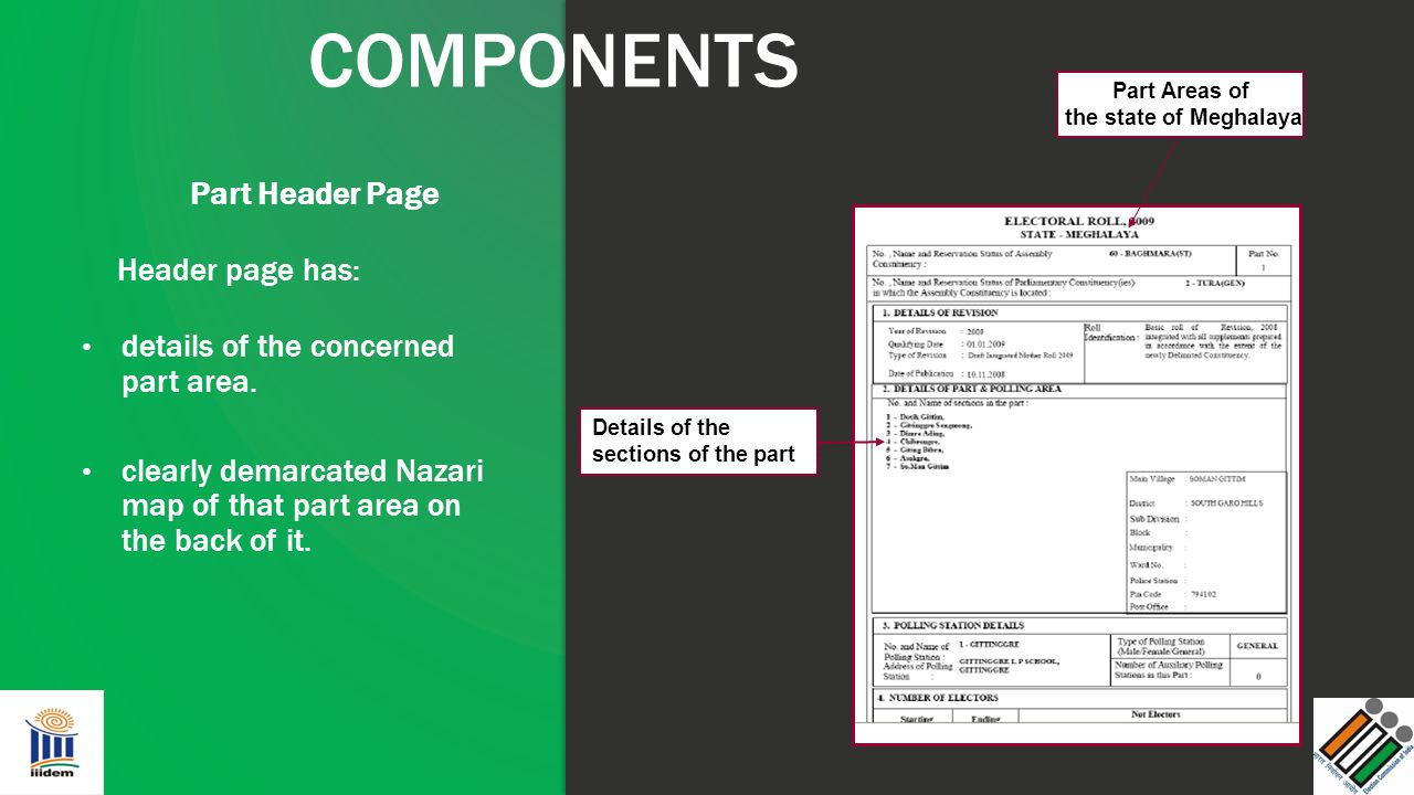COMPONENTS Part Header Page Header page has: