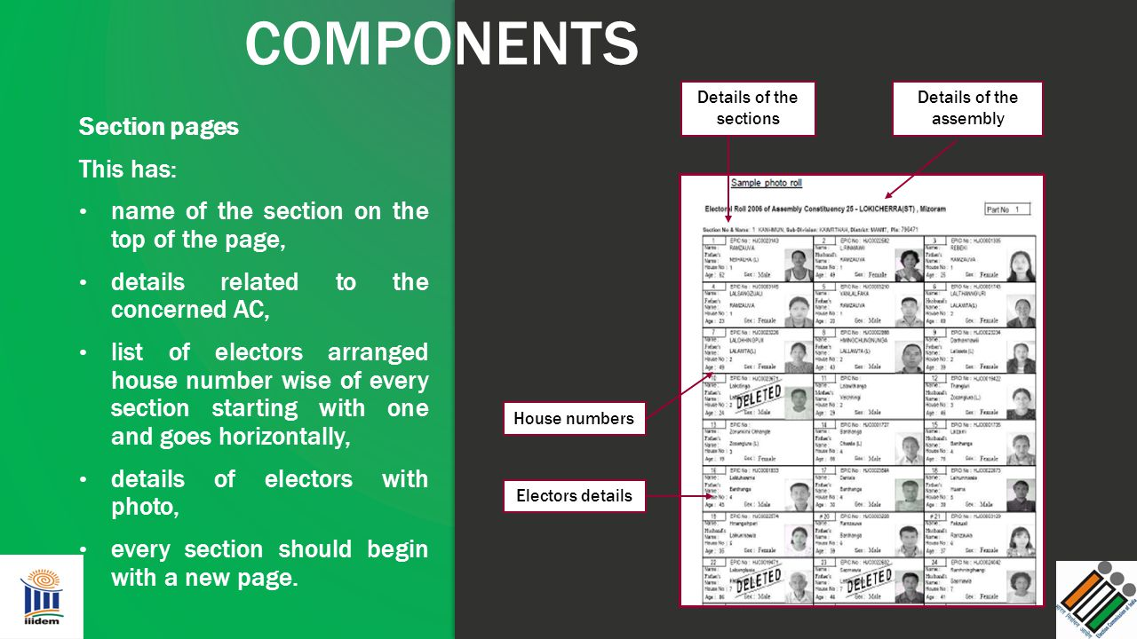 COMPONENTS Section pages This has: