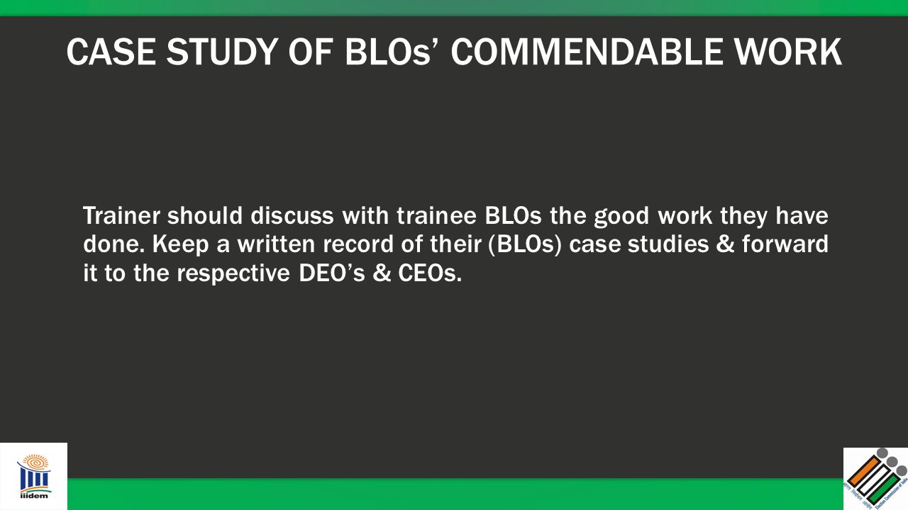 CASE STUDY OF BLOs' COMMENDABLE WORK