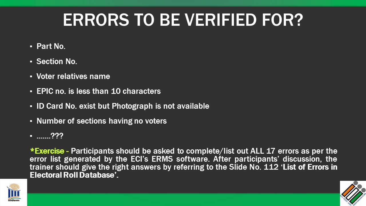 ERRORS TO BE VERIFIED FOR