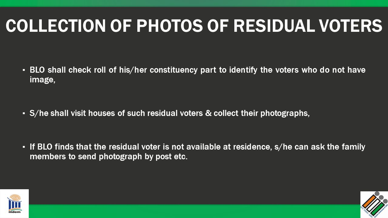 COLLECTION OF PHOTOS OF RESIDUAL VOTERS