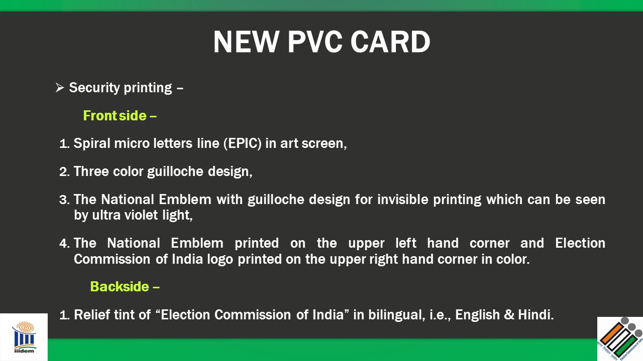 NEW PVC CARD Security printing – Front side –