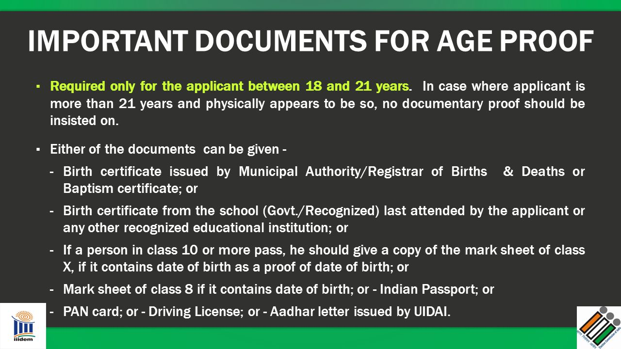 IMPORTANT DOCUMENTS FOR AGE PROOF