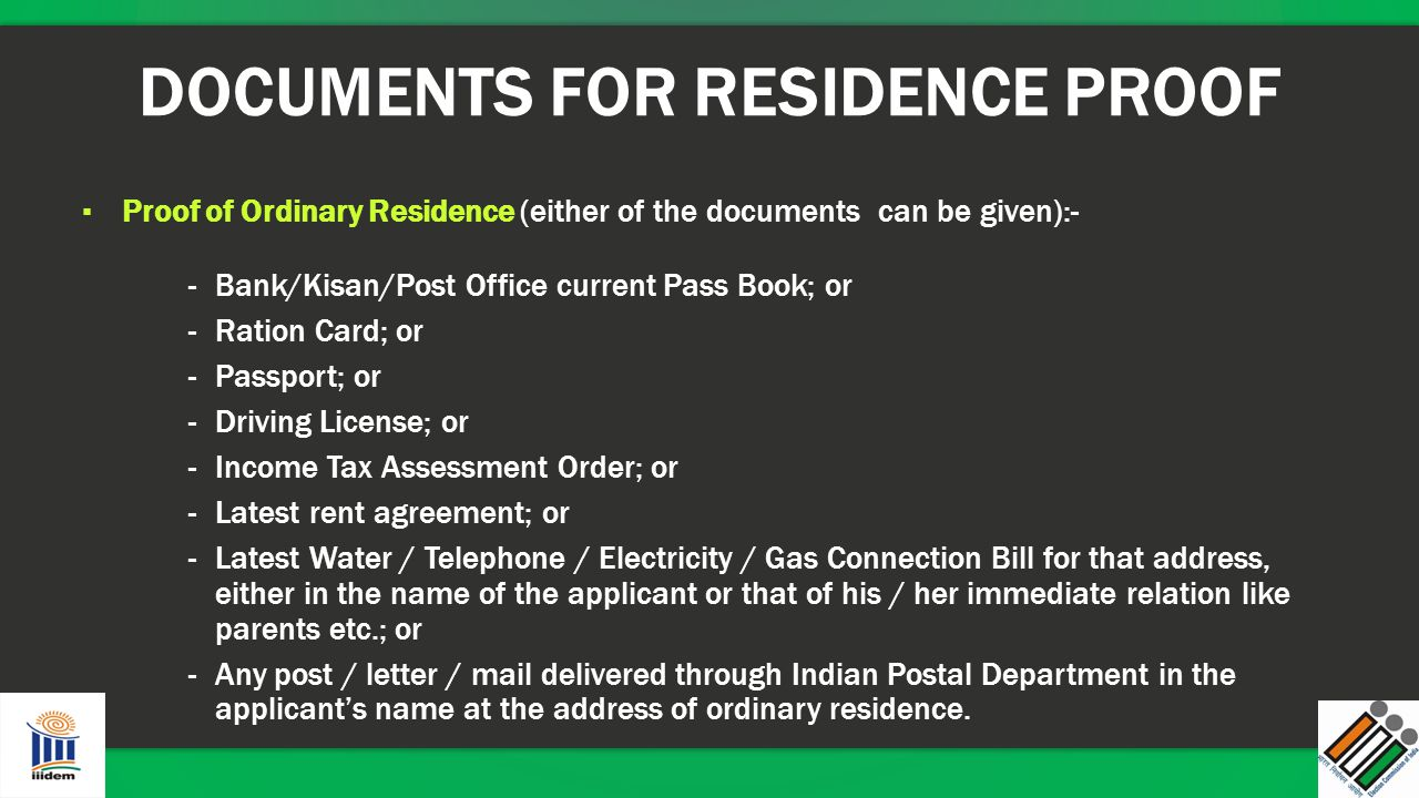 DOCUMENTS FOR RESIDENCE PROOF