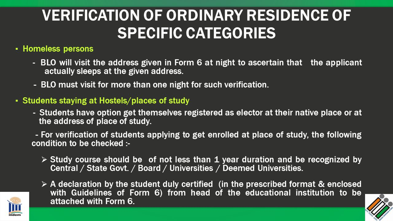 VERIFICATION OF ORDINARY RESIDENCE OF SPECIFIC CATEGORIES