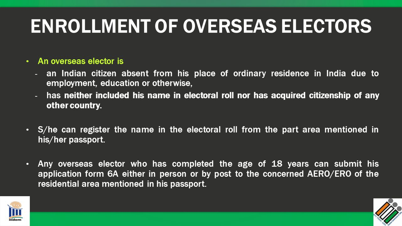ENROLLMENT OF OVERSEAS ELECTORS