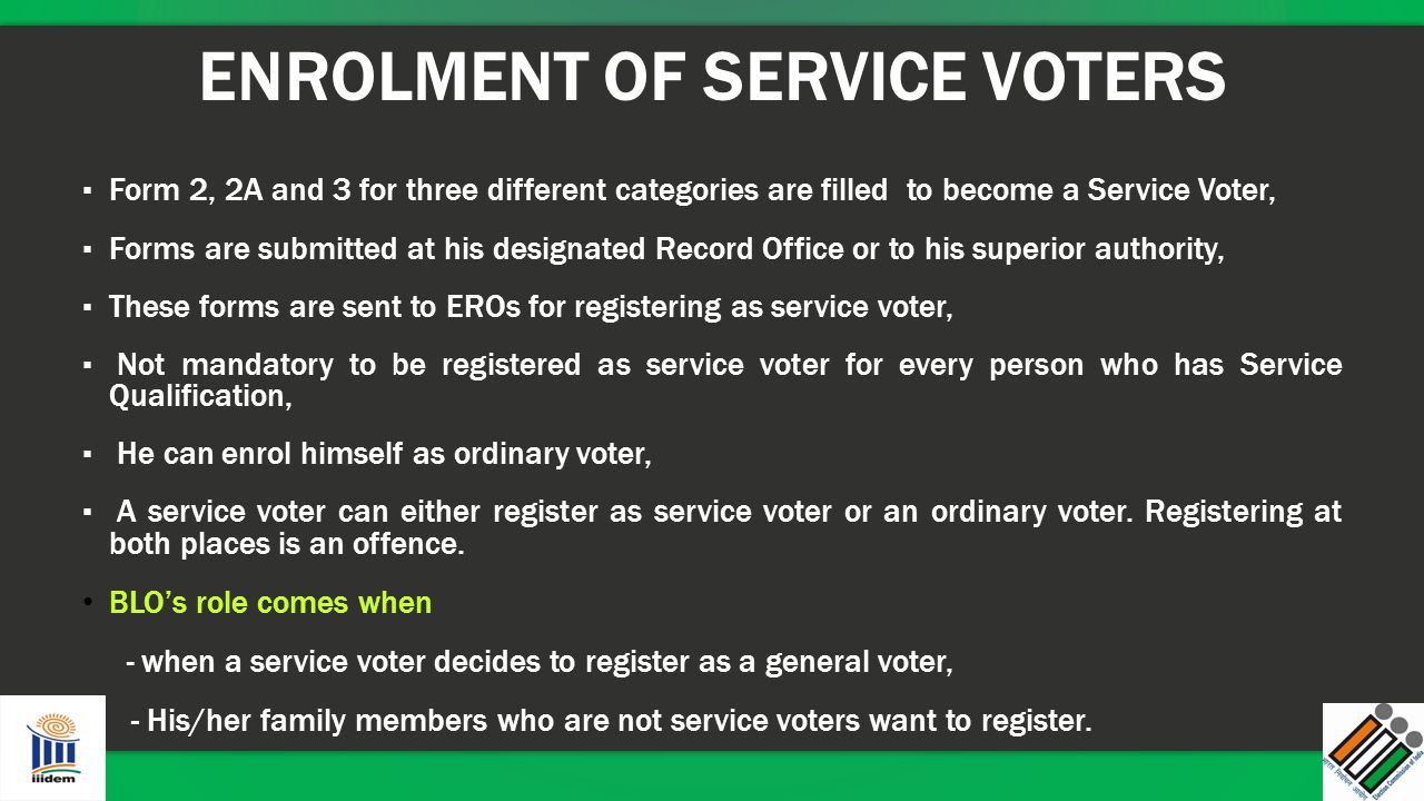 ENROLMENT OF SERVICE VOTERS