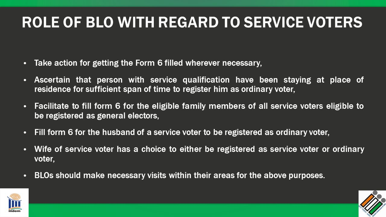 ROLE OF BLO WITH REGARD TO SERVICE VOTERS