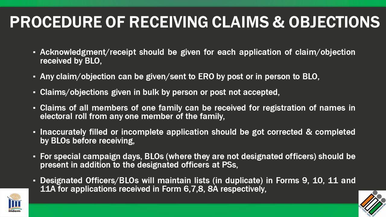 PROCEDURE OF RECEIVING CLAIMS & OBJECTIONS