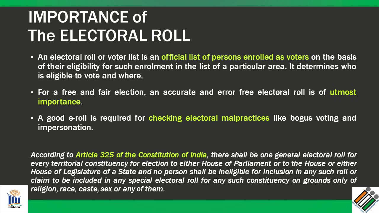 IMPORTANCE of The ELECTORAL ROLL
