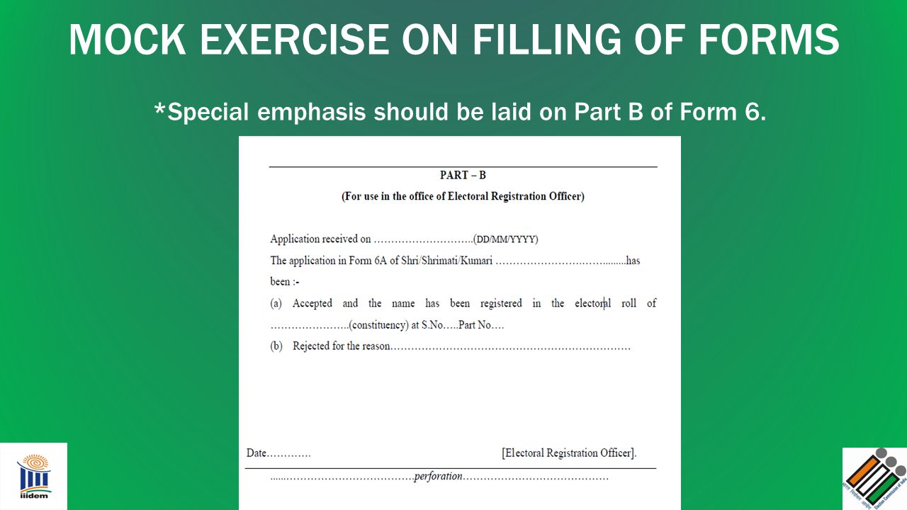 MOCK EXERCISE ON FILLING OF FORMS