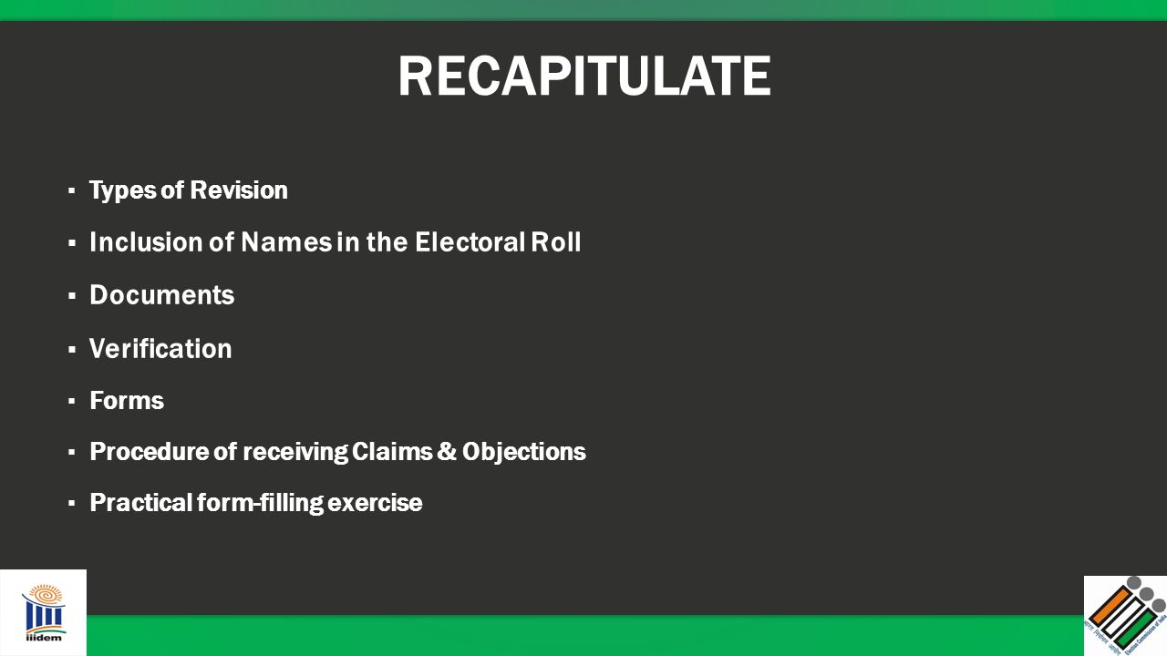 RECAPITULATE Inclusion of Names in the Electoral Roll Documents