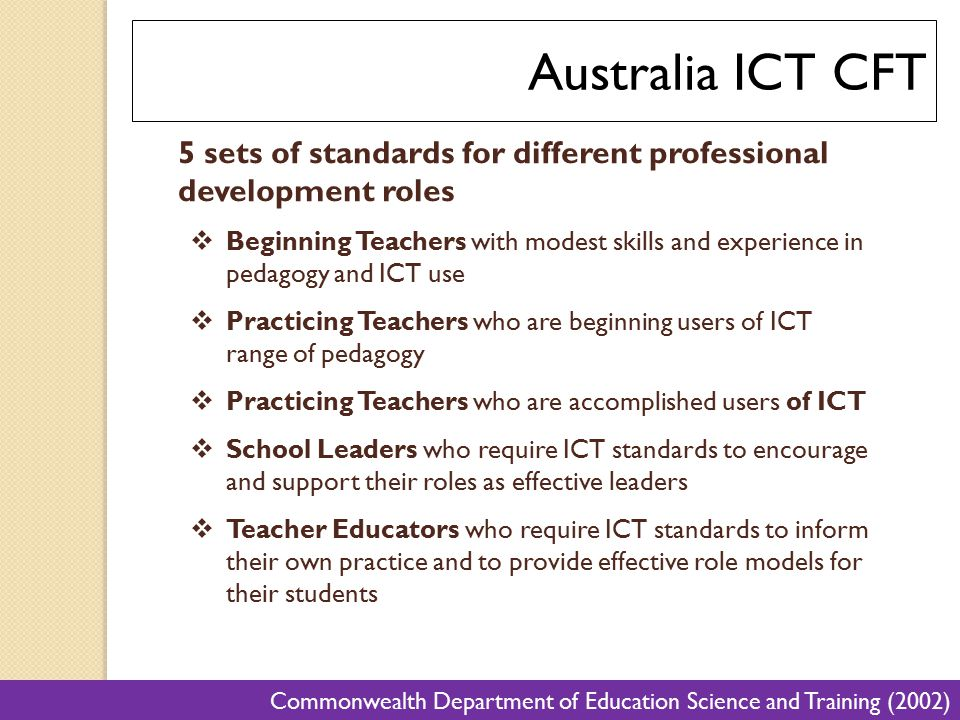 Australia ICT CFT 5 sets of standards for different professional development roles.
