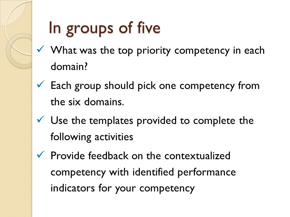 In groups of five What was the top priority competency in each domain