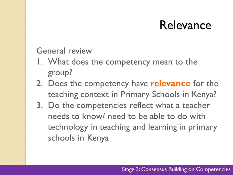 Relevance Relevance General review