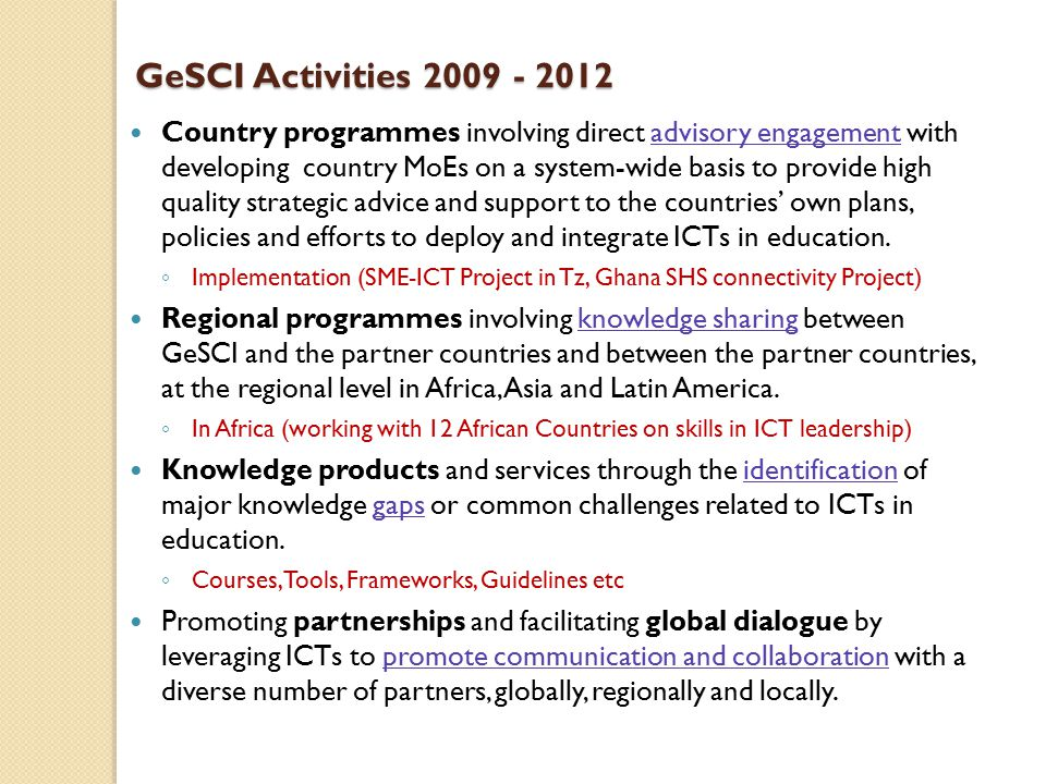 GeSCI Activities 2009 - 2012