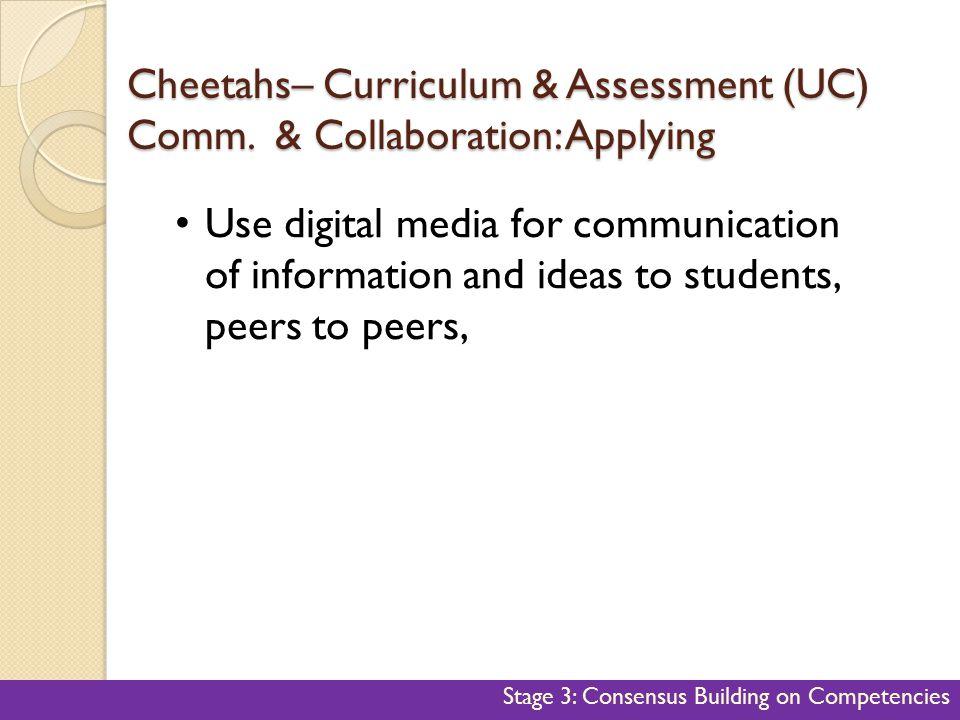 Cheetahs– Curriculum & Assessment (UC) Comm. & Collaboration: Applying
