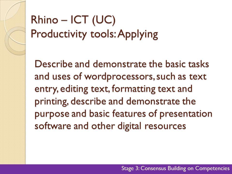 Rhino – ICT (UC) Productivity tools: Applying