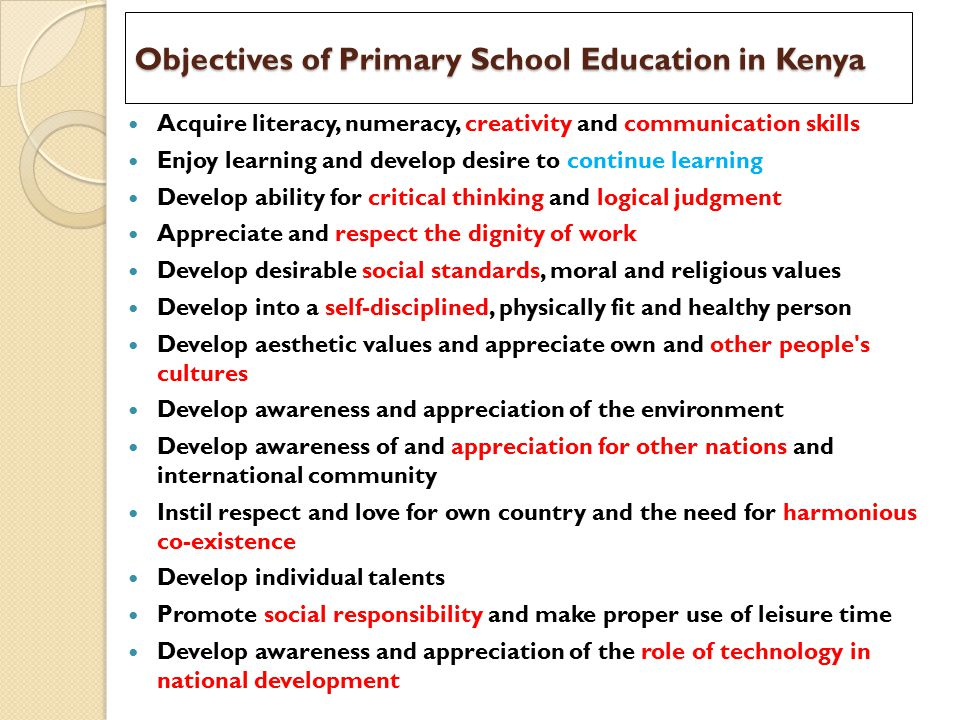 Objectives of Primary School Education in Kenya