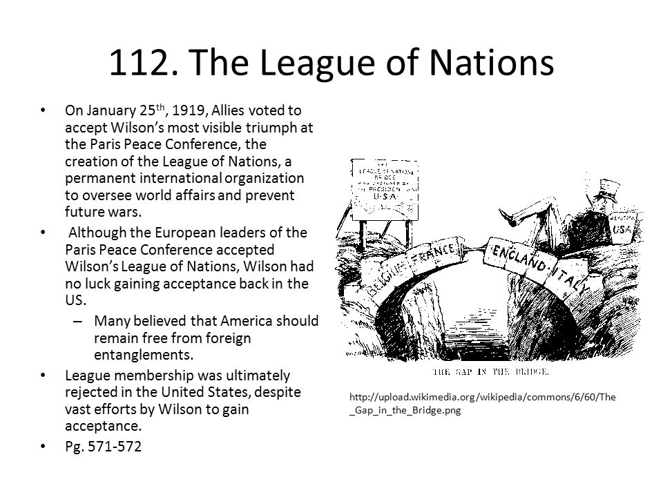 112. The League of Nations