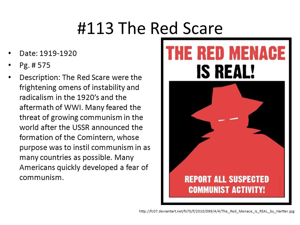 #113 The Red Scare Date: 1919-1920 Pg. # 575