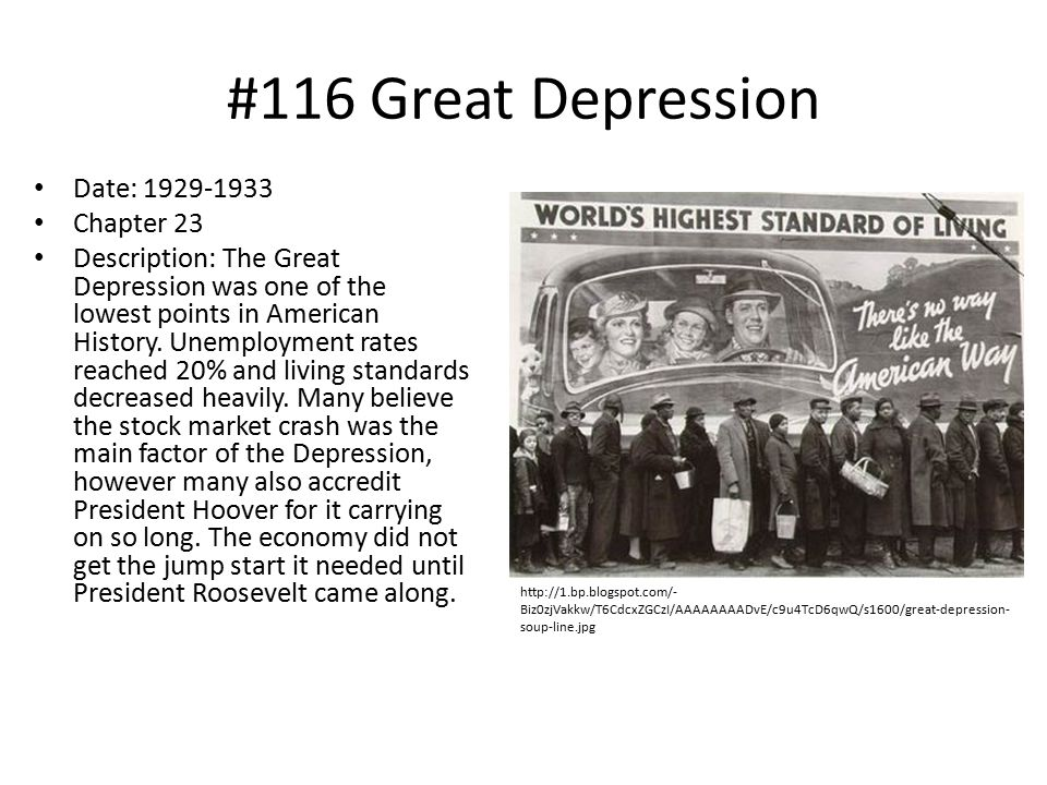 #116 Great Depression Date: 1929-1933 Chapter 23
