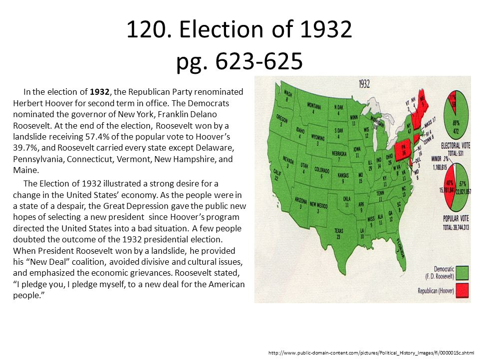 120. Election of 1932 pg. 623-625