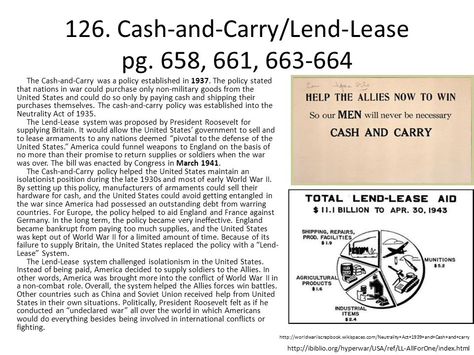 126. Cash-and-Carry/Lend-Lease pg. 658, 661, 663-664