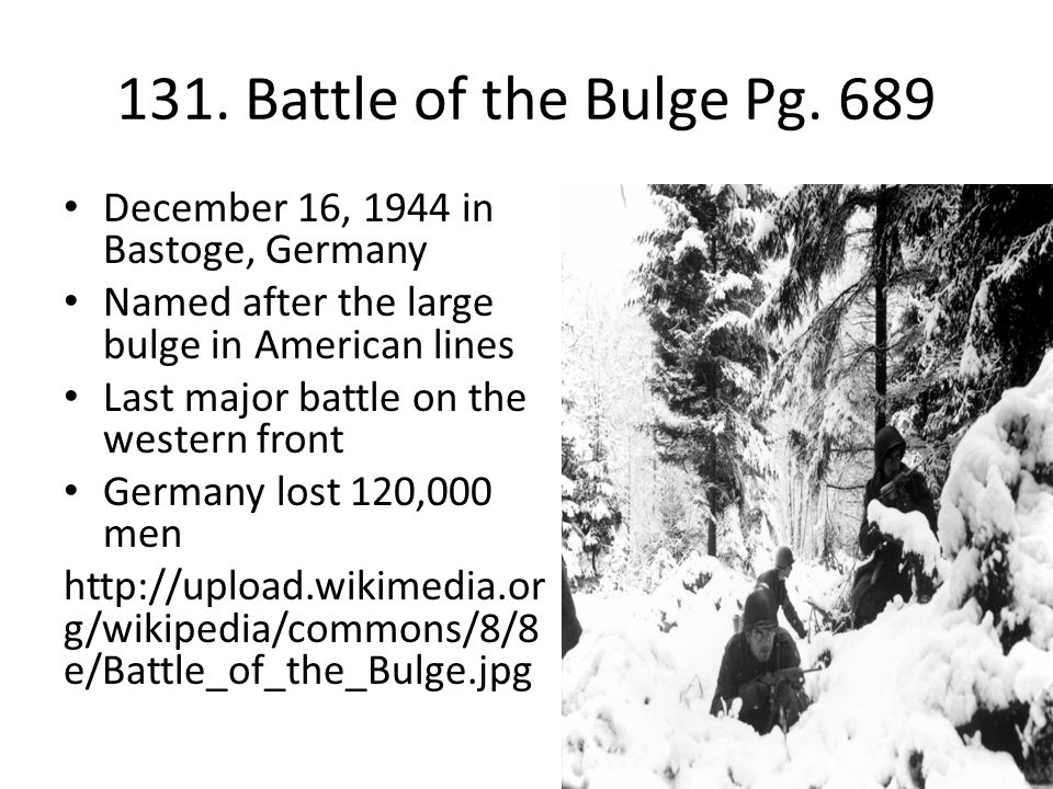 germanys last stand at the battle of the bulge The battle of the bulge began with a german attack on the morning of december 16, 1944 under cover of heavy fog, 38 german divisions struck along a 50-mile front the german army managed to push american forces back nearly to the meuse river and surround the town of bastogne in belgium.