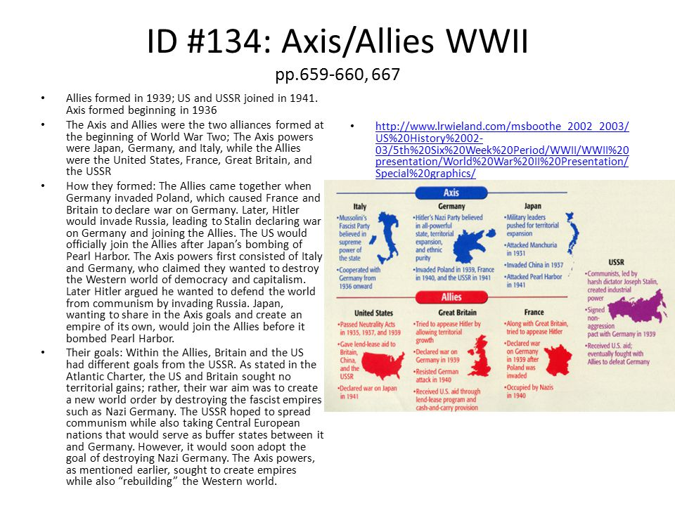 ID #134: Axis/Allies WWII pp.659-660, 667
