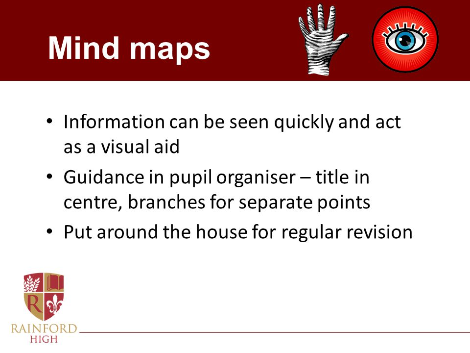 Mind maps Information can be seen quickly and act as a visual aid