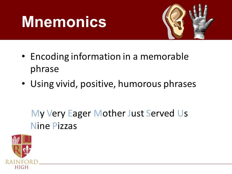 Mnemonics Encoding information in a memorable phrase