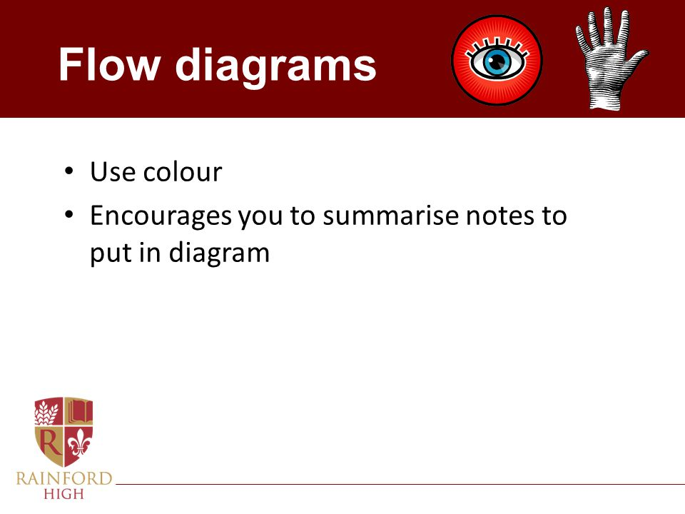 Flow diagrams Use colour