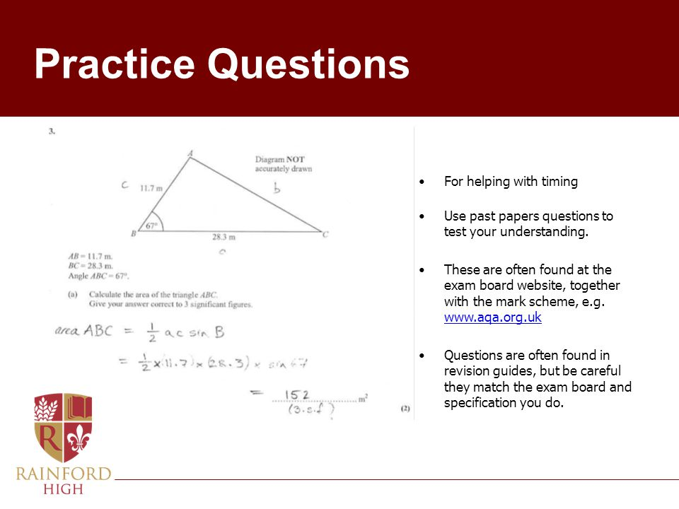 Practice Questions For helping with timing