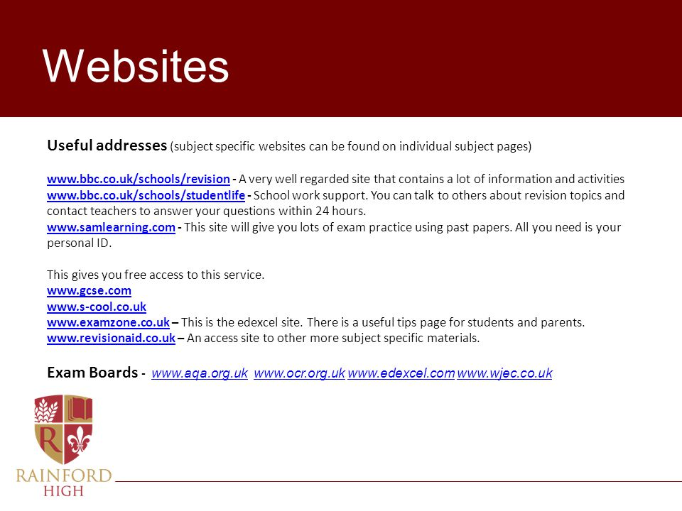 Websites Useful addresses (subject specific websites can be found on individual subject pages)