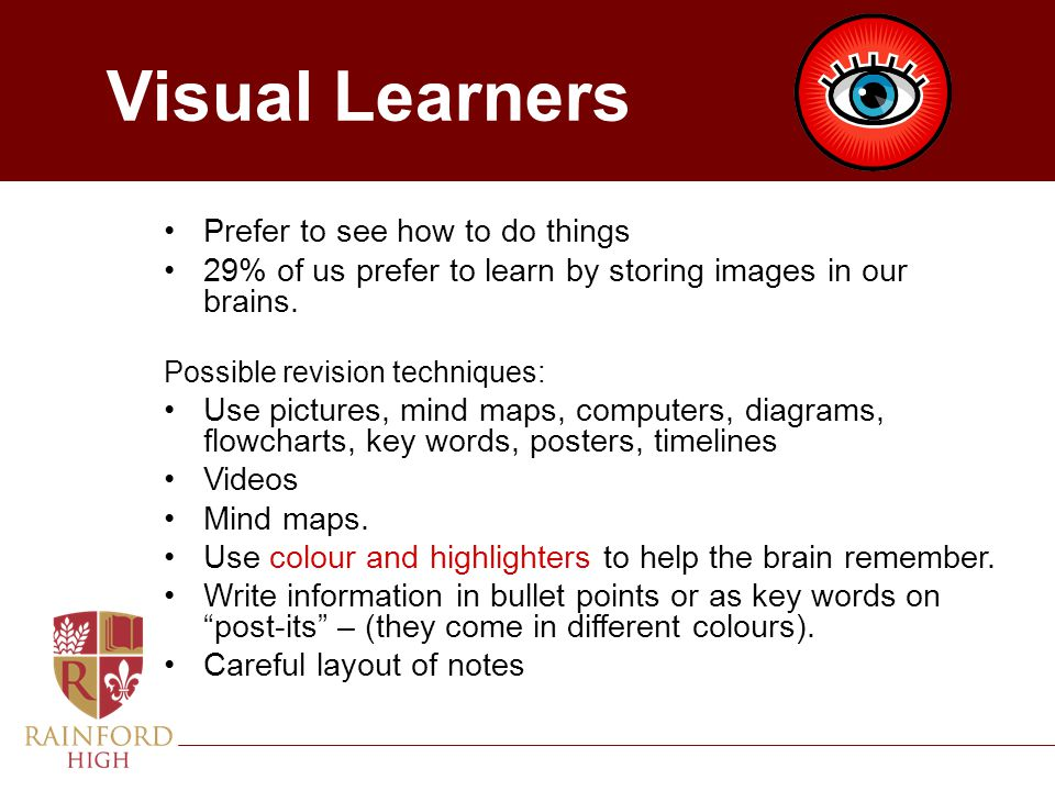 Visual Learners Prefer to see how to do things