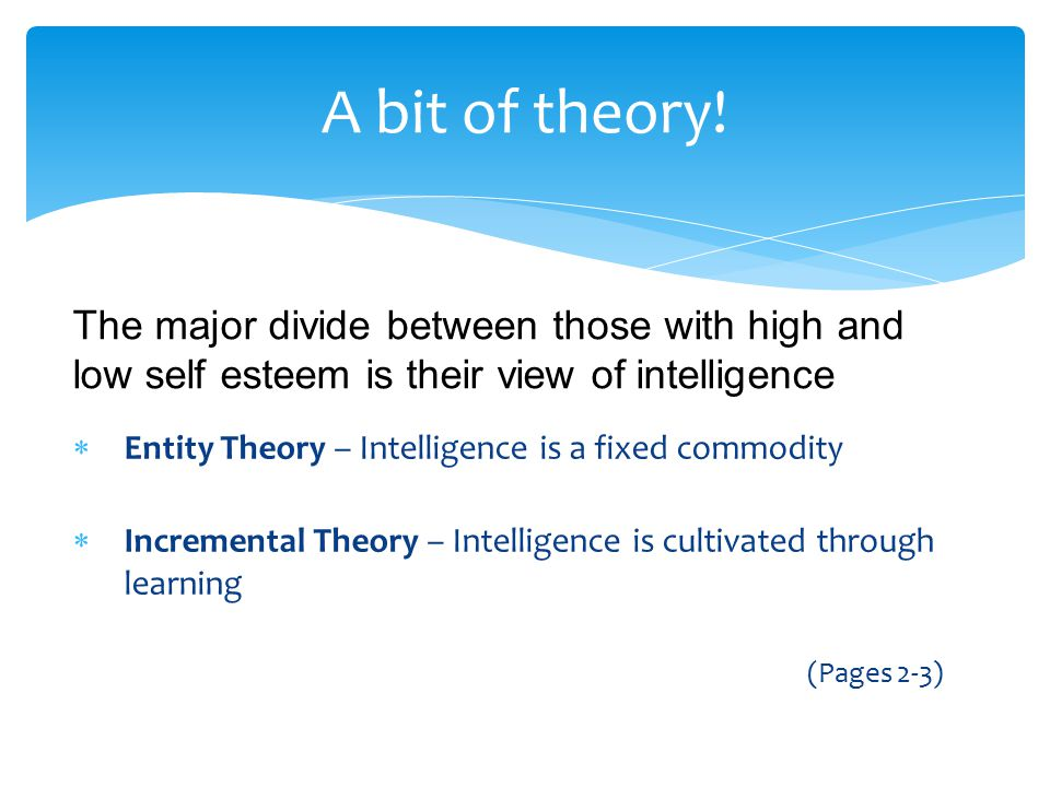 A bit of theory! The major divide between those with high and low self esteem is their view of intelligence.