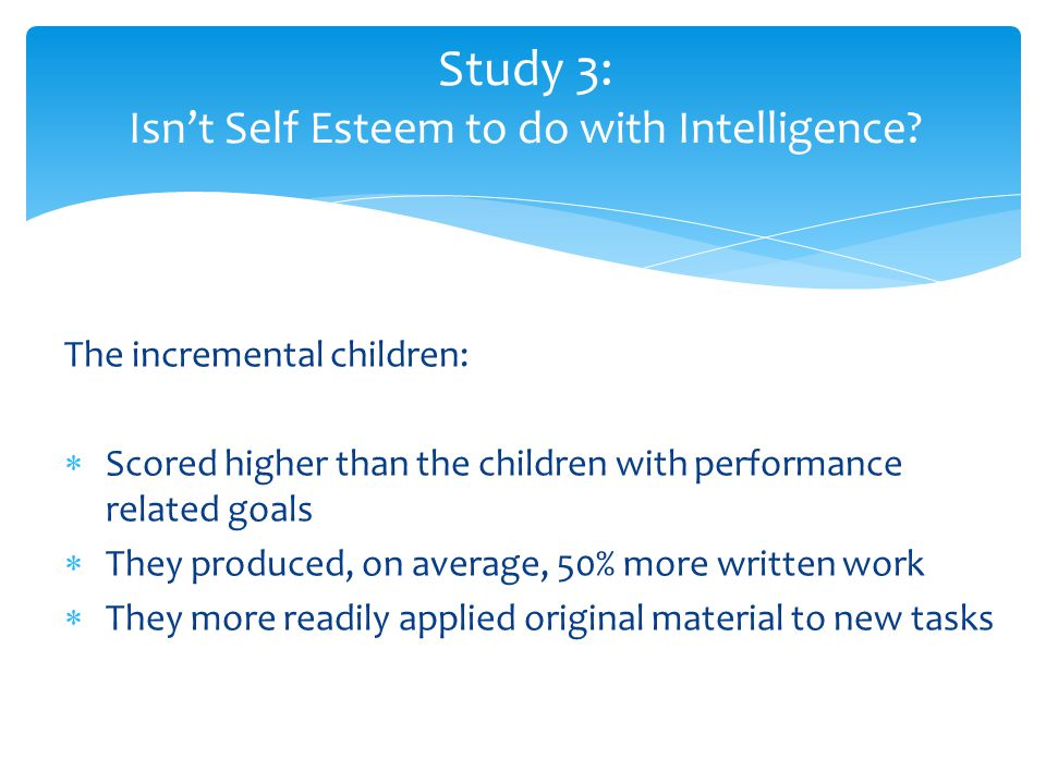 Study 3: Isn't Self Esteem to do with Intelligence
