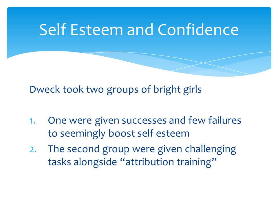 Self Esteem and Confidence