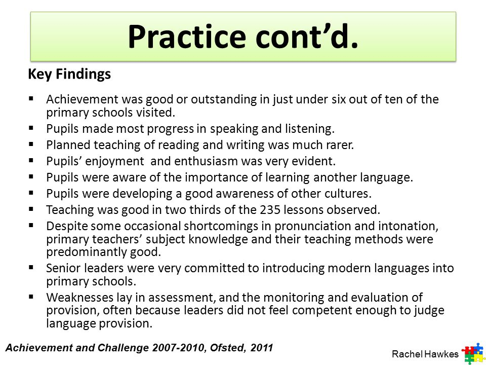 Practice cont'd. Key Findings