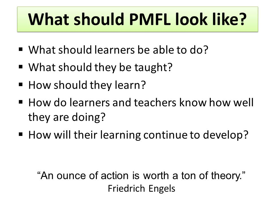 What should PMFL look like