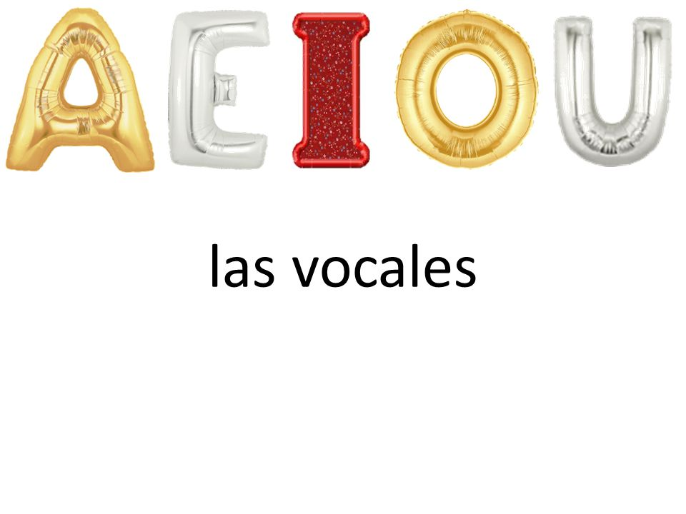 las vocales Pupils will learn how to pronounce the vowel sounds in Spanish. 'las vocales' = the vowels.