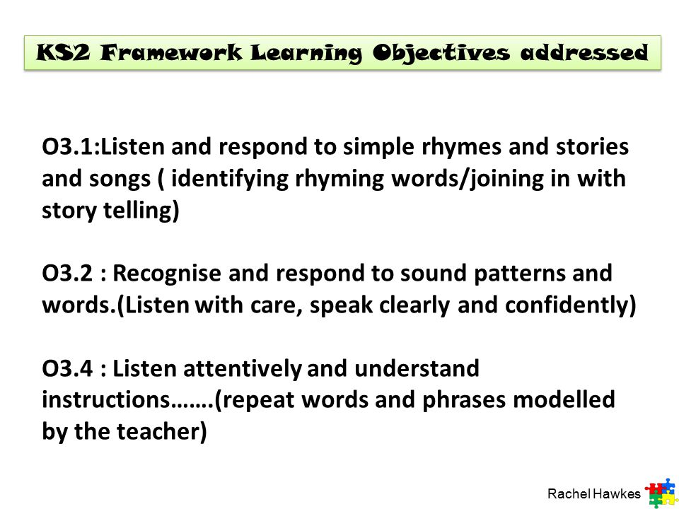 KS2 Framework Learning Objectives addressed