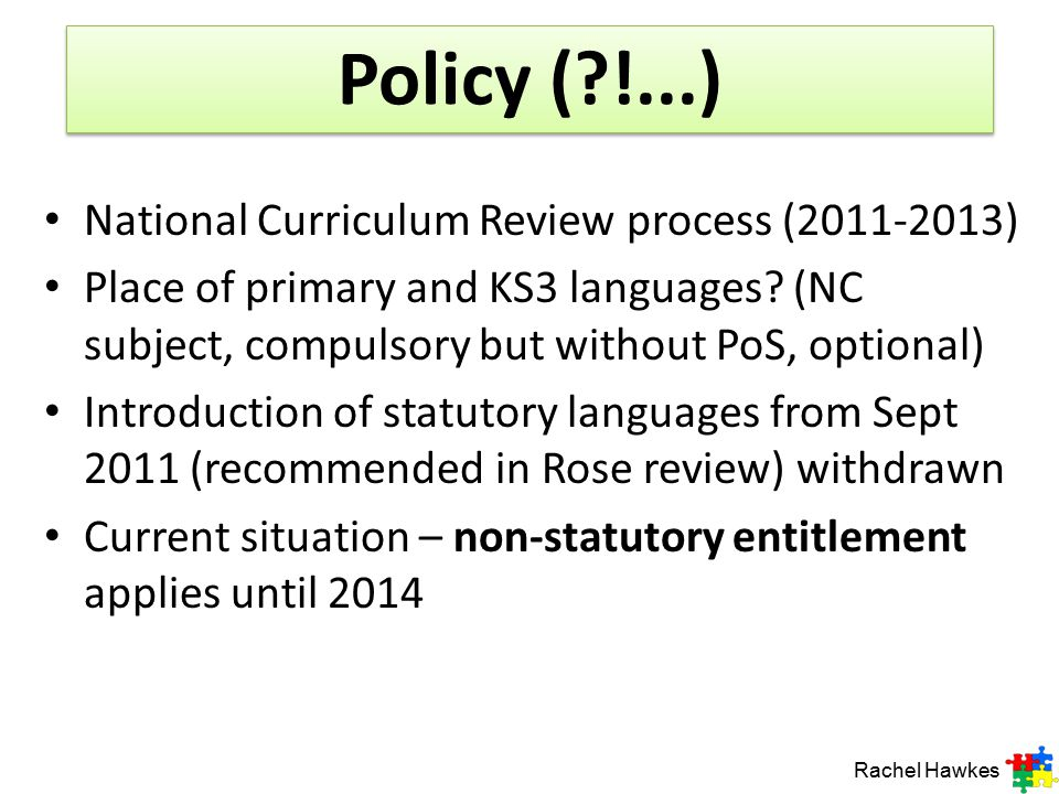 Policy ( !...) National Curriculum Review process (2011-2013)