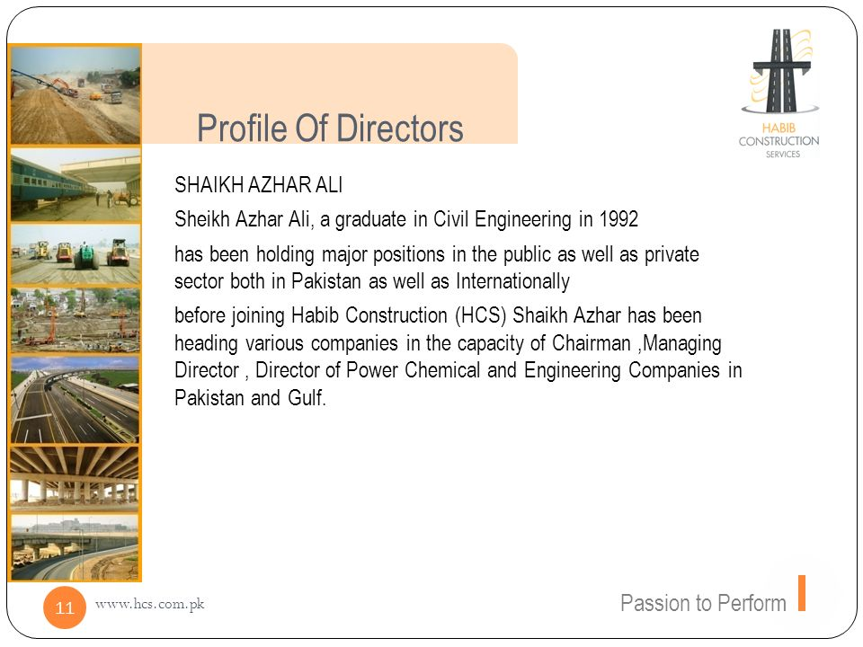 Profile Of Directors Passion to Perform SHAIKH AZHAR ALI