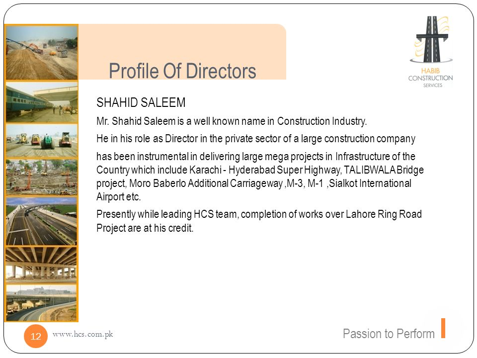 Profile Of Directors SHAHID SALEEM Passion to Perform