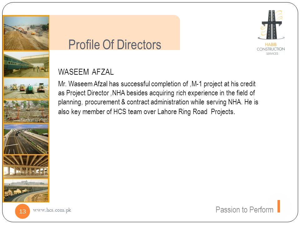 Profile Of Directors WASEEM AFZAL Passion to Perform