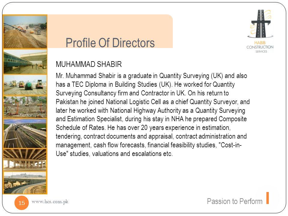 Profile Of Directors MUHAMMAD SHABIR Passion to Perform