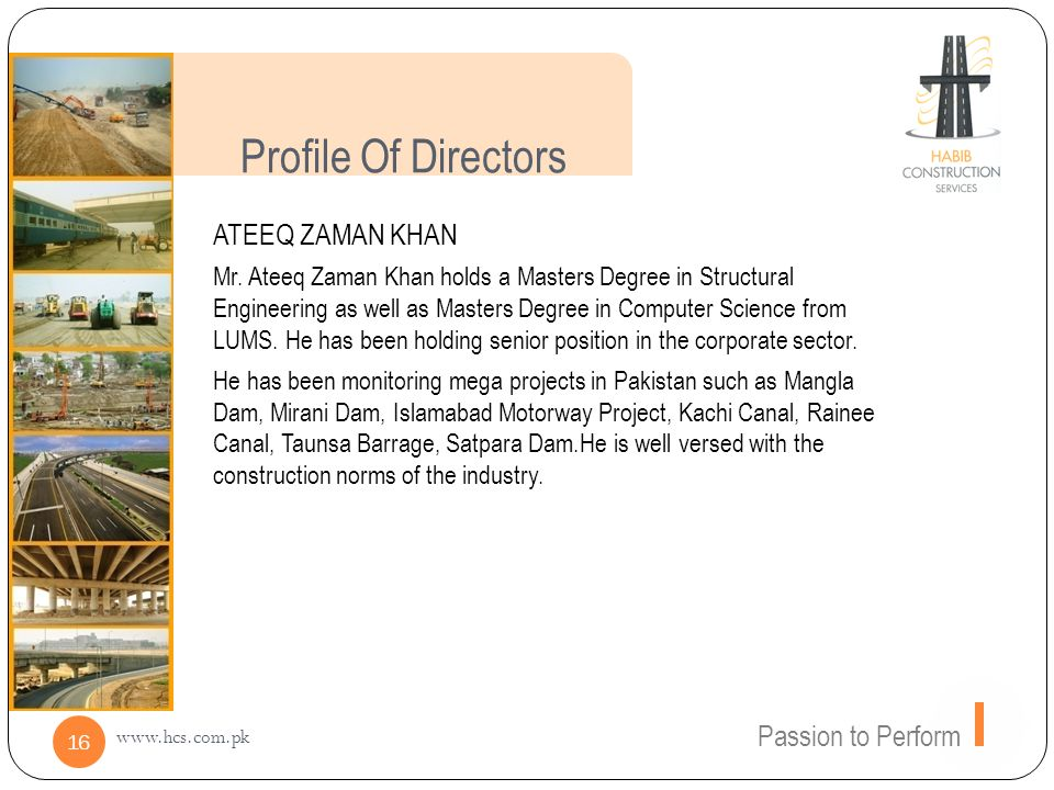 Profile Of Directors ATEEQ ZAMAN KHAN Passion to Perform